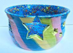Yarn Bowl Hand Thrown Large Pastel Colors of by TheFathersMarket, $29.97