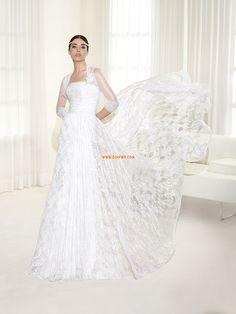 Robe de mariée 2014 fourreau dentelle sans bretelles avec boléro