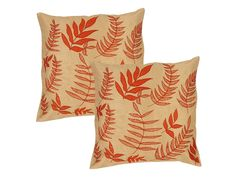 Leaf print cushion cover, yellow and light brown(Set of 2)  Chirpy yellow base of these silk cushion covers gets a classic touch with the soft light brown leaf print all over it. Chic and elegant, these cushion covers come in a set of 2.   Rs.999/-