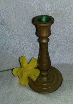 "$5.36 OR BEST OFFER Heavy Brass Candlestick Vintage round bottom 6"" tall solid"