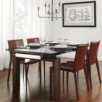 Mesa de comedor extensible de madera y cristal Qubic