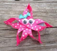 Starfish Ribbon Sculpture Hair Clip Toddler Hair by leilei1202
