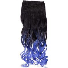 Dip Dye Curly One Piece Hair Extension in #2TT2512B Raven to Blue ($20) ❤ liked on Polyvore featuring beauty products, haircare, hair styling tools and curly hair care