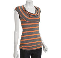 Bailey 44 grey and orange jersey 'Good Morning Zouk' cowl neck top