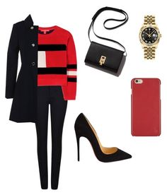 """""""Red outfit"""" by laurenflynn23 on Polyvore featuring Giorgio Armani, Tommy Hilfiger, Miss Selfridge, Christian Louboutin, Rolex and Polo Ralph Lauren"""