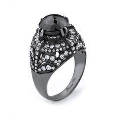 Bold rhodium plated white gold cocktail ring with white diamond detailing and stunning black diamond center stone.