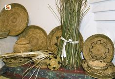 Traditional handmade baskets, made in Urzulei using local natural materials such as asphodel #Ogliastra #Sardinia