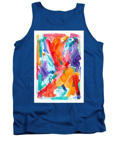 Original Art Chunky Bold Strokes Of Bright Vibrant Watercolor Abstract .purple Orange Yellow Pink Red Turquoise Tank Top featuring the painting Watercolor Abs 41 by Expressionistart studio Priscilla Batzell