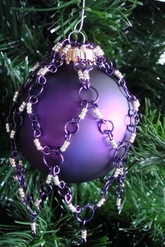 Christmas Ornament- Wire Wrap, Chainmaille, Purple, Silver. $15.00, via Etsy.