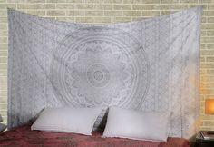 Indische ethnisch Wandbehang Traditionelle Baumwolle Geschenke Weiß Tapisserie Tapestry Blumen Gedruckt Von Rajrang: Amazon.de: Küche & Haushalt