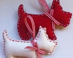 Cat Felt Christmas Ornament set of 2 от marilous на Etsy