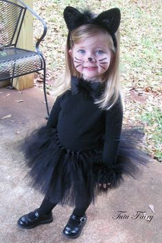 Black Cat Halloween Tutu Costume 4 Piece Set sizes by TutuFairy, $38.00