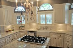 Made up my mind and this is what I want! Caroline Summer granite, paint our existing cabinets creamy white, farmhouse sink, french Chandy, and Plantation shutters for strong sun when I'm cooking dinner.