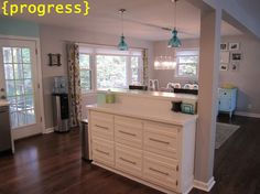 Awesome remodel of a 50's ranch--love this 'dresser' idea of an island