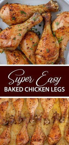 Baked Chicken Legs will take only 10 minutes of prep time. They're kid-friendl… Baked Chicken Legs will take only 10 minutes of prep time. They're kid-friendly; in fact, my kids LOVE them, and I am sure yours will love them too. Chicken Leg Recipes Oven, Oven Baked Chicken Legs, Baked Chicken Drumsticks, Healthy Baked Chicken, Baked Chicken Recipes, Meat Recipes, Keto Chicken, Rotisserie Chicken, Bon Appetit