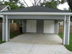 Remodel Houston - Carport with Locking Storage Serves as Covered Patio At ReCraft, we often hear people wanting more garage space. This innovative use of Carport Sheds, Carport Patio, Carport Plans, Carport Garage, Garage Plans, Garage Ideas, Carport Kits, Patio Roof, Detached Garage