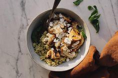 Winter Bulghur Wheat Salad With Cauliflower & Goat's Feta - Viva Vegetarian Lunch, Vegetarian Recipes, Vegetable Dishes, Vegetable Recipes, Parsley Pesto, Easy Salads, Roasted Cauliflower, Feta, Salad Recipes