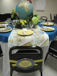 WFBC festival of tables 2012- we are all sisters in Christ. Tablescape. Globe. Women's Missions.