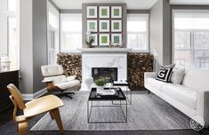 Wood burning fireplace in this charming modern home in Chicago.