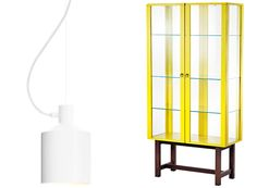 The white Silo lamp was inspired by grain silos, Zero. The Stockholm 2013 vitrine cabinet is part of Ikea's spring collection.