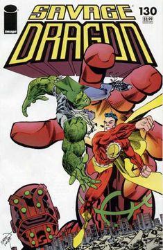Savage Dragon 130 - Punching - Superhero - Combat - Cape - Mutant Reptile - Erik Larsen