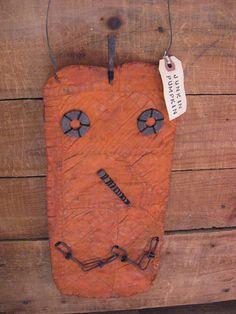 Primitive Halloween Junkin Pumpkin by annattic1 on Etsy.