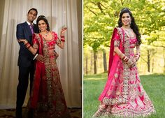 A Red & Pink Lehenga with heavy Gold work for Kamana of WeddingSutra. Photos Courtesy- Photographick