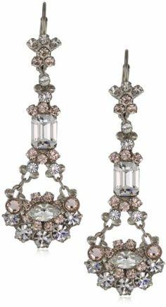 "Sorrelli ""Snow Bunny"" Neutral Crystal Chandelier Silver-Tone Earrings"