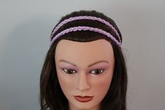lavander double braid headband, adult teen headband, hair band, retro headband, braided headband, bandana, yoga headband, crochet headband. $6.95, via Etsy.