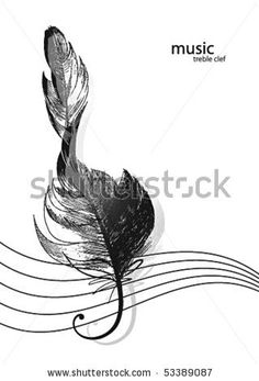 Feather Treble Clef ~ For behind my ear?