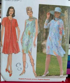 1998 Simplicity Pattern  8054-Misses' Dress by PaperWardrobesEtc