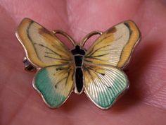 O F Hjortdahl Oslo Norway Sterling Silver Enamel Butterfly Pin