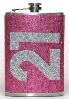 21st Birthday Pink Glitter Sparkly 8 oz Stainless Steel Hip Flask Gift Idea, http://www.amazon.com/dp/B00EZXWTI4/ref=cm_sw_r_pi_awdl_NoLIsb1S5G699