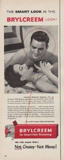 """1954 BRYLCREEM vintage magazine advertisement """"The Smart Look"""" ~ The Smart Look Is The Brylcreem Look! Brylcreem for Smart Hair Grooming ... the rich cream that's Not Greasy -- Not Messy! ~"""