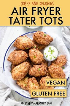 Air Fryer Tater Tots are a healthier version of the fast food favorite. Cook up homemade tater tots in air fryer using absolutely no oil at all! Vegan Breakfast Recipes, Lunch Recipes, Healthy Dinner Recipes, Appetizer Recipes, Vegetarian Recipes, Appetizers, Ninja Recipes, Kraft Recipes, Paleo Dinner