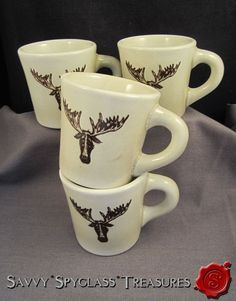 FOUR Vintage Coors Pottery Chefsware Restaurant China Sad Moose Elk Coffee Mugs #Chefsware