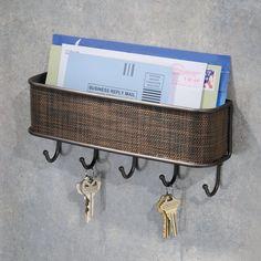 Wall Mount Key Mail Letter Bill Door Rack Holder Hooks Basket Display Organizer  #InterDesign