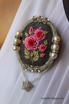Like the flower but , for me, without the bling Polymer Clay Embroidery, Bead Embroidery Jewelry, Textile Jewelry, Silk Ribbon Embroidery, Fabric Jewelry, Beaded Embroidery, Cross Stitch Embroidery, Embroidery Patterns, Hand Embroidery