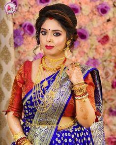 Bengali Bridal Makeup, Best Bridal Makeup, Indian Wedding Bride, Saree Wedding, Bridal Necklace, Gold Necklace, Indian Bridal Photos, Party Wear Indian Dresses, Banarsi Saree