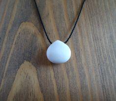 White jadeite choker necklace black silk cord stone by BakGuri