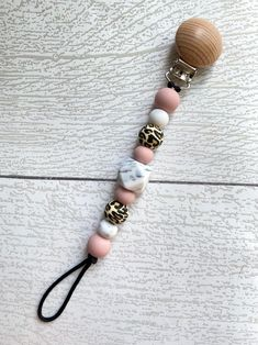 Pacifier clip / silicone bead pacifier clip / paci clip / | Etsy Cow Print, Cheetah Print, Beaded Necklace, Beaded Bracelets, Dummy Clips, The Blushed Nudes, Sweet Peach, Pacifiers, Pink Marble