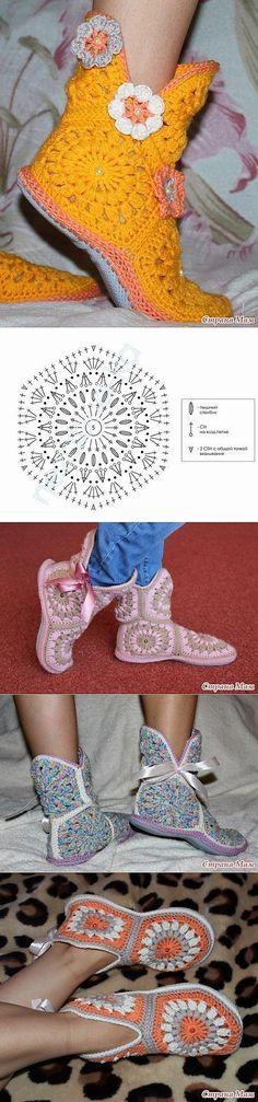 Varie pantofole con spiegazione  e sandali con schema.