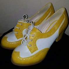 "NWOT VINTAGE Style B.A.I.T Heels B.A.I.T- But Another Innocent Tale. Remmy mustard yellow round toe,40's inspired, two tone mantailored oxford. Still is original price on website. 100% Vegan Friendly. Upper material: Faux Napa leather. Lining: Man made material+fabric counter lining. Heel height: 2 3/8"". Lace-up closure. True to size. NWOT(see pic 2 for bottom of soles).No box, has 2 minor scuffs from other shoes in closet(see pic 4), can't tell when being worn.Check out my other vintage…"