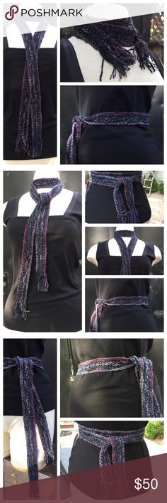 """Vibrant Artisan-made scarf or belt, wear both ways Beautiful and durable.  Hand woven with fringe.  Can be worrn as a scarf or belt.  Gorgeous colors!!!! 1 1/2"""" wide x 66"""" long with 2"""" fringe on each end. Accessories Scarves & Wraps"""