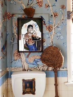 Melbourne Home · Peter Curnow and Gavin Brown; Hand painted bathroom walls in Chinoiserie style by Gavin, Chinese mirror bought in Macau. Brown Bathroom Mirrors, Brown Bathroom Paint, Bathroom Mural, Brown Bathroom Decor, Bathroom Furniture, Bathroom Accessories Uk, Back Painting, Melbourne House, Brown Walls