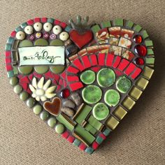 Heart Mosaic Wall Hanging by RedCrowArts on Etsy