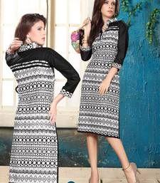 Buy Fab Cotton Printed Black & White coloured Casual Designer Stitched Kurtis long-kurti online