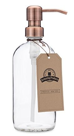 Clear Glass Pint Jar Soap and Lotion Dispenser with Metal...