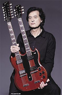 Jimmy Page and his famous Gibson EDS1275.By the time he decided to use the famed double neck guitar for Stairway to Heaven, Gibson had discontinued the guitar. Being a rock star has its privilege and he custom ordered the instrument that ended up becoming synomous with the player. It was essentially the fused bodies of two Gibson SG's with the bottom neck being a six-string set up and the top neck being a 12 string. Page wanted the dual neck to avoid changing guitars in the middle of the son...