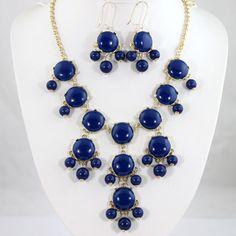New 20mm Navy Blue Bubble jewelry set,Bubble Necklace,Bubble Earrings,Bib Jewelry Set,Statement Necklace-BN0249. $24.00, via Etsy.
